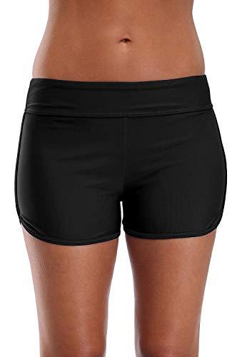 LA ORCHID Laorchid Damen mittlere Taille Bikini Hose Boy Legs Shorts schwarz Unterteil Bauchweg Badeanzug für Yoga schwimmSchwarz XL