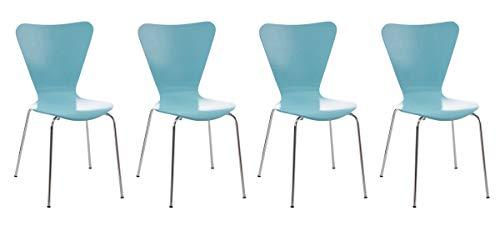 CLP Set 4 Sedie Impilabili Calisto in Legno E Metallo I Sedie Conferenza Salvaspazio I Sedia Classica Riunioni Alt. 45 CM, Colore:Azzurro