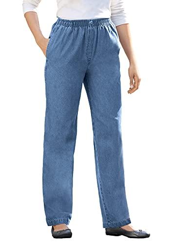 Woman Within Women's Plus Size Elastic-Waist Cotton Straight Leg Pant - 16 W, Medium Stonewash Blue