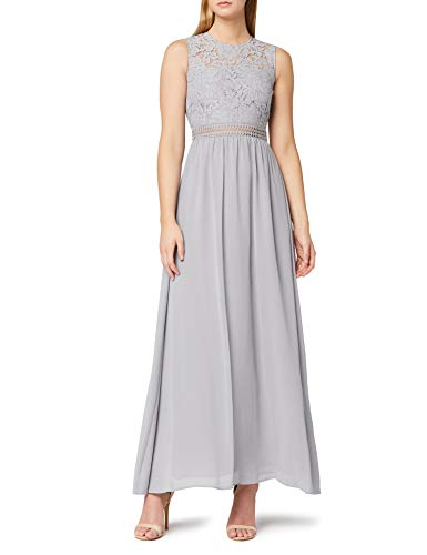 Amazon-Marke: TRUTH & FABLE Damen Maxi-Spitzenkleid, Grau (Grey), 36, Label:S