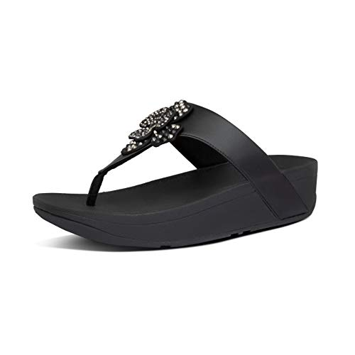 Sandalias de cuña de Mujer FitFlop Entre Dedo con Tachuelas en Color Negro (Encuadernación desconocida)