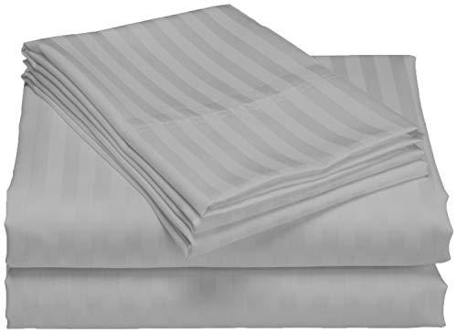 Bedding Attire Juego de sábanas a rayas de 4 piezas (1 sábana bajera + 1 sábana superior + 2 fundas de almohada) algodón egipcio de 600 hilos (tamaño emperador, color plateado)
