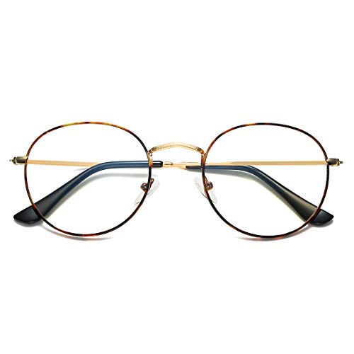 LKEYE Blue Light Blocking Glasses Filter UV Retro Small Round Ultra Computer&Gaming Eyewear LK5904 Leopard Frame/Anti-Blue Light Lens