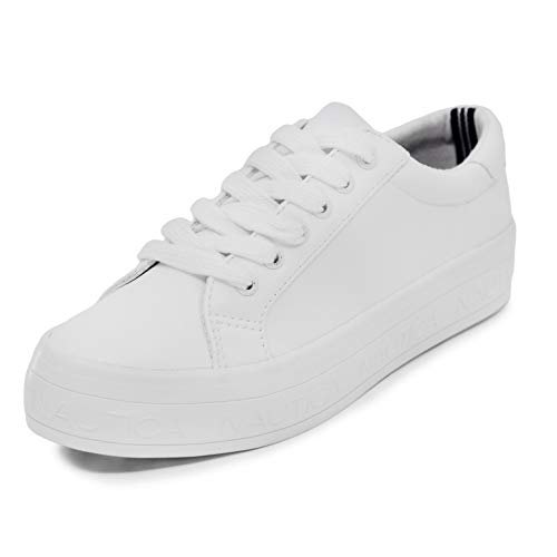 Nautica Women Lace-Up Fashion Sneaker Casual Shoes-Aelisa-White-8.5