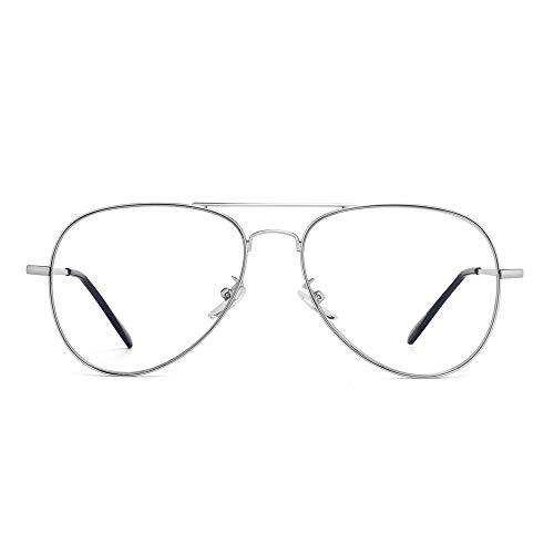 GLINDAR Occhiali Pilota per Computer Blocco della Luce Blu Cerniere a Molla in Metallo Uomo Donna Riducono Affaticamento degli Occhi Argento