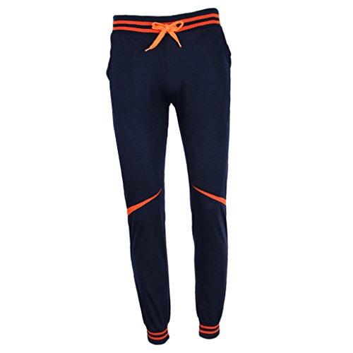 Baoblaze Homme Pantalon de Sport Rayures en Coton Souple Yoga Super Soft - bleu marin, M