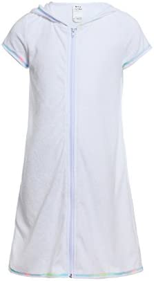 Girls Boys Short Sleeve Swim Robe Beach Cover Up with Zipper Bathrobe White 10 12 product image