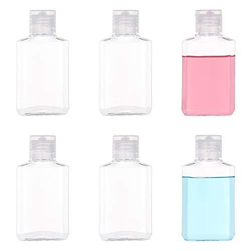 BENECREAT 24 Pack 60ml Botellas Vacías Cuadradas de Plástico Transparente con Tapas Abatibles Recipientes Recargables Botellas Cosméticas para Champú Loción Líquido