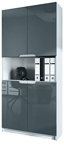 Vladon Büroschrank Aktenschrank Büromöbel Logan V2, Korpus in Weiß matt/Fronten in Grau Hochglanz