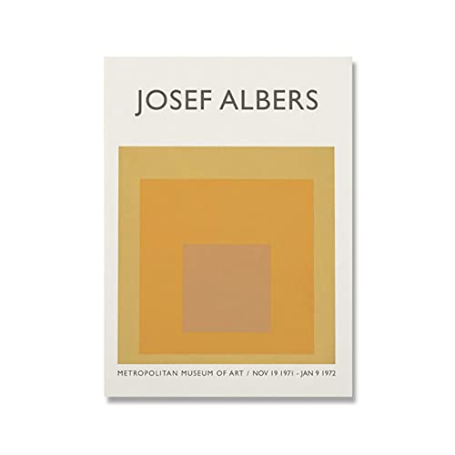 bdkym Mid Century Art Canvas Printing Minimalistische Moderne Poster Josef Albers Muur Foto Geel Huis Decor-40X60Cmx1…