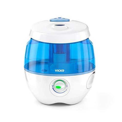 Vicks Sweet Dreams Cool Mist Humidifier Blue Small Humidifier for Bedrooms, Baby, Kids Rooms, Auto-Shut Off, 0.5 Gallon Tank for 20 Hours of Moisturized Air, Use with Vicks VapoPads