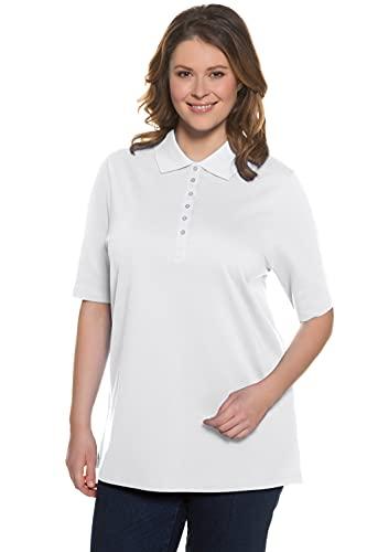 Ulla Popken Große Größen Damen Langarmshirt Polopiquee Shirt Weiß (Weiss 20),,50 DE / 52 EU