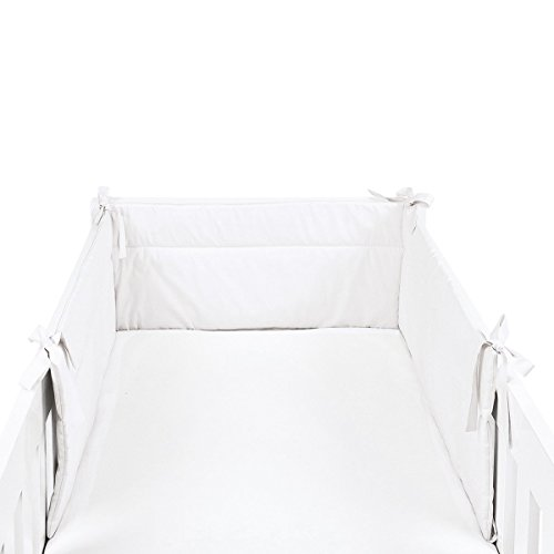 SONNE Tour de lit X-Large 32 x 210 cm tour de lit tour de lit bébé, blanc