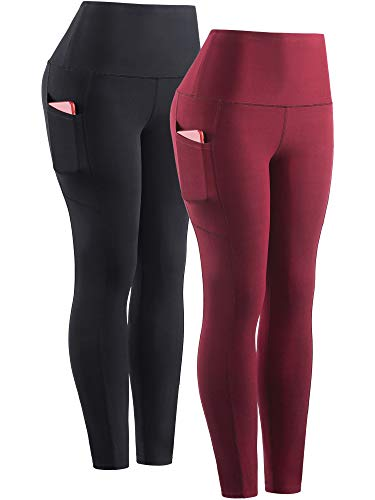 Neleus Women's 2 Pack Yoga Pants Tummy Control Workout Leggings,High Waist with Phone Pocket,9041,Black,Red,US S,EU M