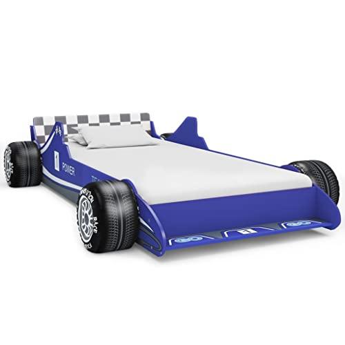 Ksodgun Cama con Forma de Coche de Carreras para niños Cama Infantil Estructuras de Cama 90x200 cm Azul