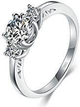 925 Sterling Silver Ring Boruo Cubic Zirconia CZ Diamond Eternity Engagement Wedding Band Ring Size 4