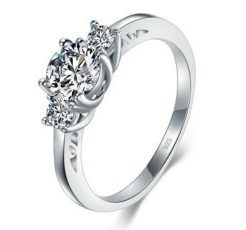 BORUO 925 Sterling Silver Ring, Cubic Zirconia CZ Eternity Engagement Wedding Band Ring Size 6.5