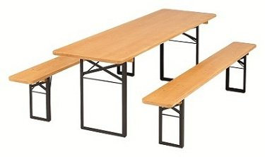Ensemble de bancs d'extérieur - 1 A - Qualité de brassage - Largeur de table 50 cm - Convient pour l'extérieur durable - Avec vernis épais - Couleur : noyer - Longueur : 220 cm