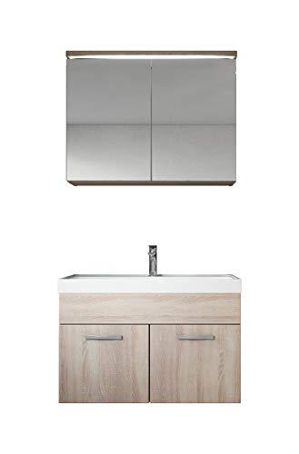 Badezimmer Badmöbel Set Paso 02 80 cm Waschbecken Sonoma - Unterschrank Schrank Waschbecken Spiegelschrank Schrank