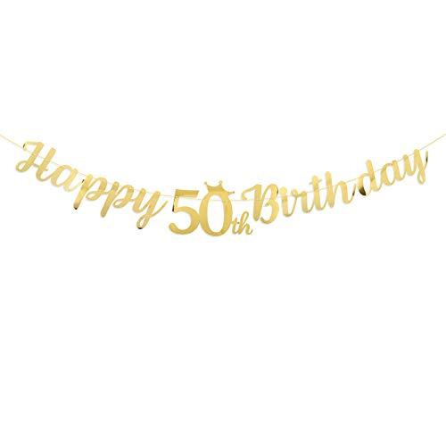Guirnalda Happy 50th Birthday Banner Decoración Fiesta de Cumpleaños 50 Años Banderines Feliz Cumpleaños Dorado