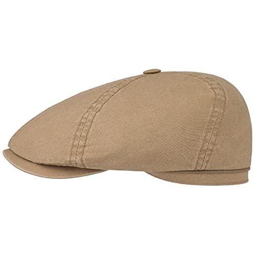 Stetson Stetson Delave Organic Cotton Flatcap - Unifarbene Kappe für Herren - 100% Baumwolle - Regular Fit - Schirmmütze mit UV-Schutz - Sommer/Winter Dunkelbeige M (56-57 cm)
