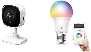 TP-Link Tapo C100 WLAN IP Kamera Überwachungskamera innen (1080p-Auflösung, 2 Wege Audio, 9m Nachtsicht) + TP-Link Tapo L530E smarte WLAN Glühbirne E27, Mehrfarbrige dimmbare