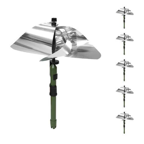 Athene & Sophe Reflective Pinwheels with Stakes for Yard and Garden - 6-Pack Bird Repellent Devices, Silver Deterrent Spinners