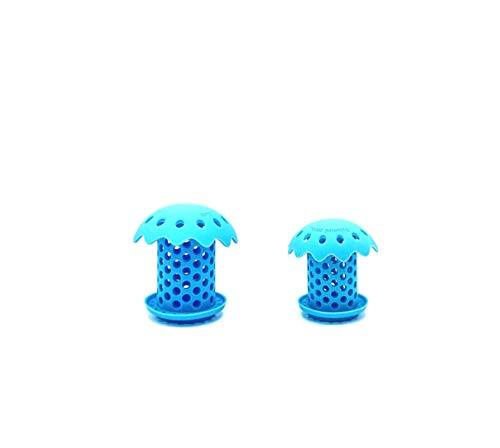 """sink shroom the Revolutionary Tub Drain Protector Hair Catcher/Strainer/Snare, 2 pack with two sizes 1.5"""" and 1.75"""" (blue)"""
