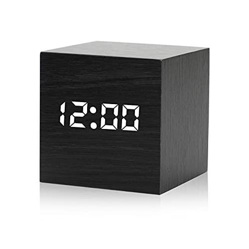 Punvot Sveglia digitale a LED, in legno, sveglia digitale per camera da letto, con controllo vocale, luminosità regolabile, data della temperatura, umidità dell'aria, cavo USB alimentato a batteria