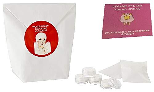Wolkenseifen ® Deocreme Probenset mit 15 Proben Deodorant Deo-Creme + Konjac Schwamm Ginger