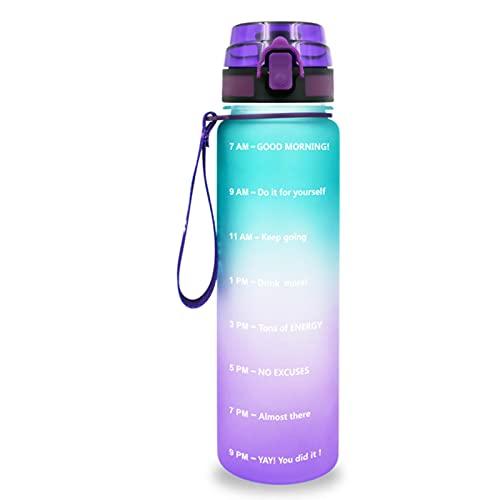 JWDS Botella deportiva 1L 32Oz Botella De Agua Libre A Prueba De Fugas Con Marcador De Tiempo Motivacional Flip-Flop Para Garantizar La Bebida Lo Suficientemente Diaria