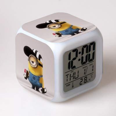 TYWFIOAV Nuevo Reloj Digital LED de Cine y televisión Colorido Reloj Despertador Colorido Reloj de luz Nocturna para habitación de niños