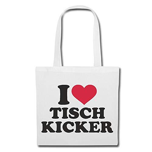 Tasche Umhängetasche I Love Tisch Kicker - FUßBALL - TISCHFUßBALL - Kicker Turnier - TISCHKICKER Einkaufstasche Schulbeutel Turnbeutel in Weiß