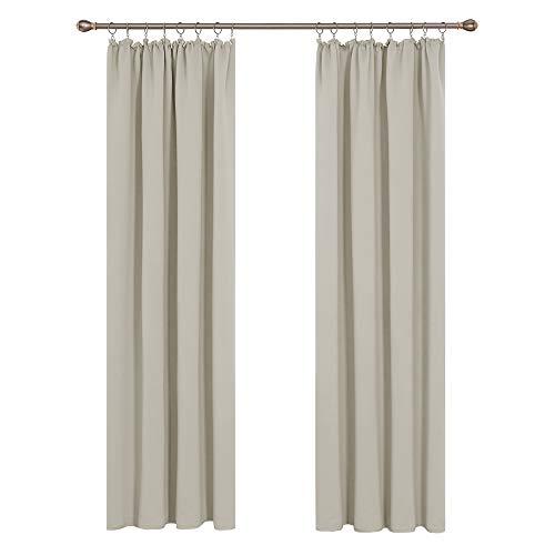 Deconovo Vorhang Blickdicht Gardinen Wohnzimmer schallschutz mit Kräuselband 260x140 cm Creme 2er Set