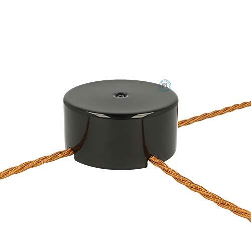 Flairlux Aufputz Verteilerdose Porzellan rund | Abzweigdose zur Aufputzverlegung von Kabeln | Wanddose mit 3 Ausgängen Ø100 mm - h45 mm inkl Verbindungsklemmen zur Kabelverbindung (schwarz)