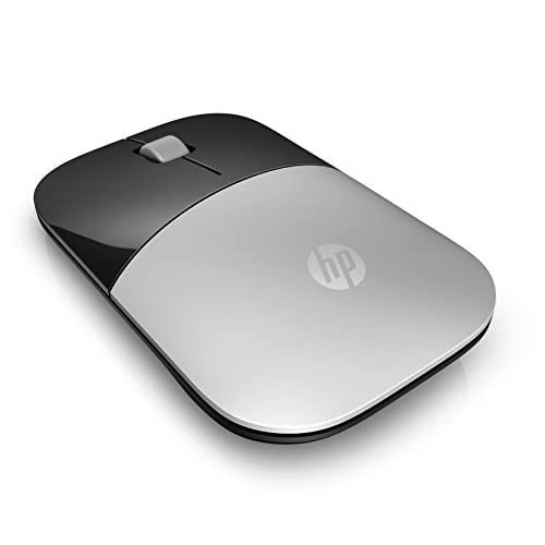 HP - PC Z3700 Mouse Wireless, Sensore Preciso, Tecnologia LED Blue, 1200 DPI, 3 Pulsanti, Rotella Scorrimento, Ricevitore USB Wireless 2.4 GHz Incluso, Design Pratico e Confortevole, Argento