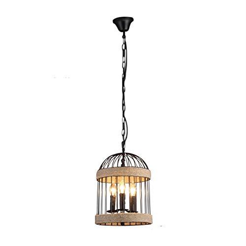 Jaula de pájaro candelabro de 3 portalámparas retro de metal negro hierro cuerda de cáñamo para bares, restaurantes de granjas, dormitorios, decoración e iluminación