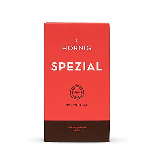 J. Hornig Kaffee gemahlen Spezial, 500g, mildes & schokoladiges Aroma, perfekt für Filterkaffee, French Press und Mokkakanne