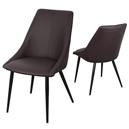 Staboos Stühle 4er Set CH80 - Hochwertiger Polsterstuhl bis zu 150 kg belastbar - Strapazierbarer Stoff Sessel - Premium Dining Chair - leicht montierbare Esszimmerstühle (Kunstleder braun)