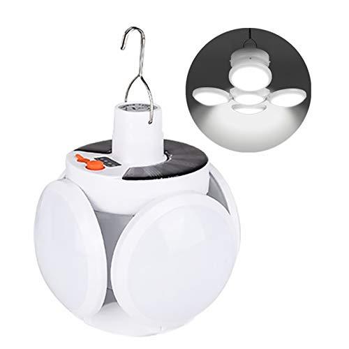 Vvciic Luz solar, lámpara LED de energía solar con forma de fútbol plegable, hoja de lámpara ajustable colgante moderna, luz solar portátil para interior, exterior, senderismo, tienda de campaña