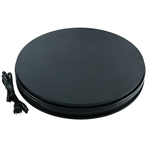 Homend 110V Electric Motorized Rotating Turntable Display Stand 18inch/45cm Diameter 110pounds Load 360 Degree Rotating in Either Direction for Photography Showcase Black