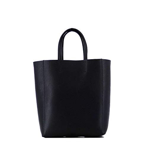 Rouven STUDIO.MUNET Epsom Pattern Leder Handtasche Shopper Business Tasche/Pernilla 21 Tote Bag/mittel / 21x27x11 cm/Schwarz Black Noir & Gold