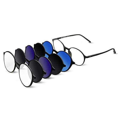 BAUHAUS Magnetic Sunglasses Clip on for Men & Women UV400 Polarized Retro Round Anti-glare Clear Eyeglasses