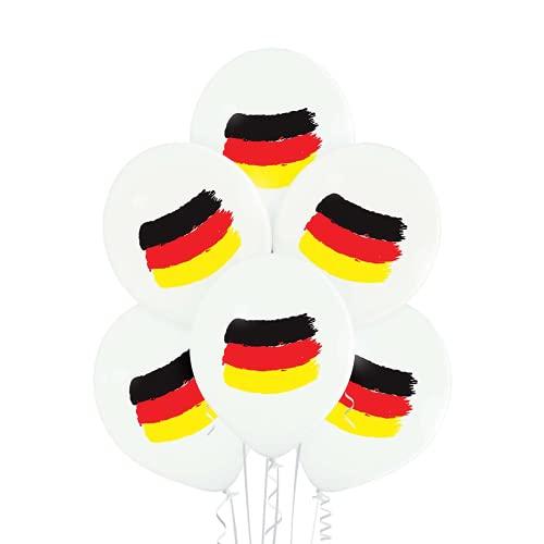 PARTY FACTORY Motivballons aus Latex, ø27cm, 25 Stück, bunte Farben - für Geburtstag, Hochzeit, Halloween, Silvester, Fußball; verschiedene Motive (Deutschland Flagge)
