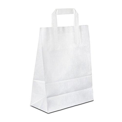100 x Papiertüten weiss 18+08x22 cm | stabile Kraftpapiertüten | Papierbeutel Flachhenkel | Einkaufstasche klein | Paper Bag | HUTNER