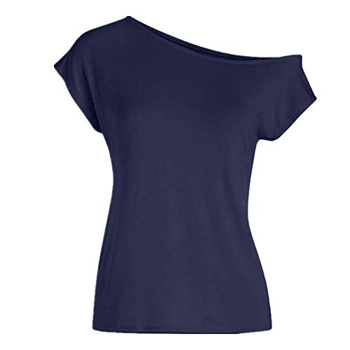 Camiseta de manga corta con un hombro y cuello de pendiente, informal, con un solo hombro, para mujer