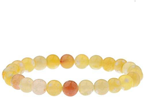 Plztou Pulsera de Piedra Mujer, 7 Chakra 8mm Perlas de Piedra Natural de Cristal Amarillo Brazalete elástico joyería Reza Yoga energía Equilibrio Reiki Charm difusor Regalo para un Amigo