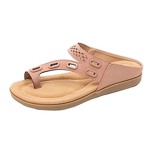 2021 Nuevo Sandalias Mujer Verano Planas Moda Sandalias de Vestir Playa Chanclas para Mujer Zapatos Sandalias de Punta Abierta Roma Casual Sandalias Fiesta Cómodo Flip Flop