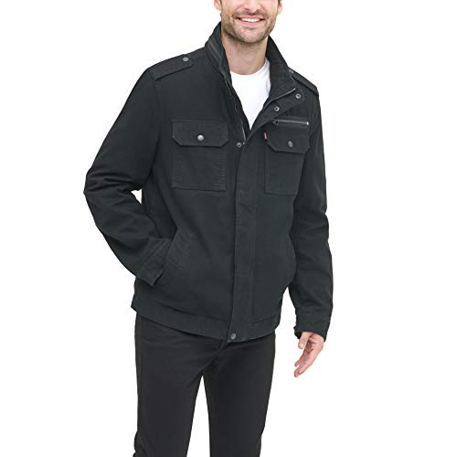 Levi's Men's Washed Cotton Two Pocket Military Jacket (Standard and Big & Tall), Black, Large