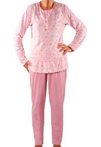 Seniorenmode24 Damen Senioren Oma Schlafanzug mit Blumen kuschelig weich aus Baumwolle Hose mit Gummizug ideal für pflegebedürftige Omas einfach anzuziehen und super pflegeleicht (rosa, 36/38)
